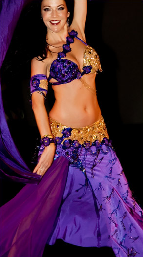Sandra Bellydance Costumes Sale Purple Gold Lycra Bella Belly Dance