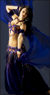 green red dance costume bellydancer